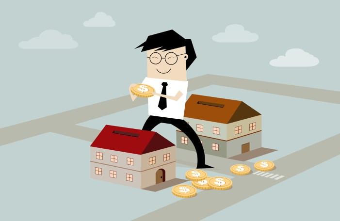businessman's putting coin inside the house - real estate investment, flat style illustration