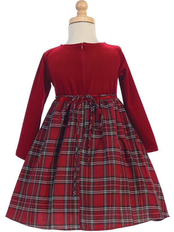 Plaid Amp Velvet Girls Holiday Dress Red Grandmas