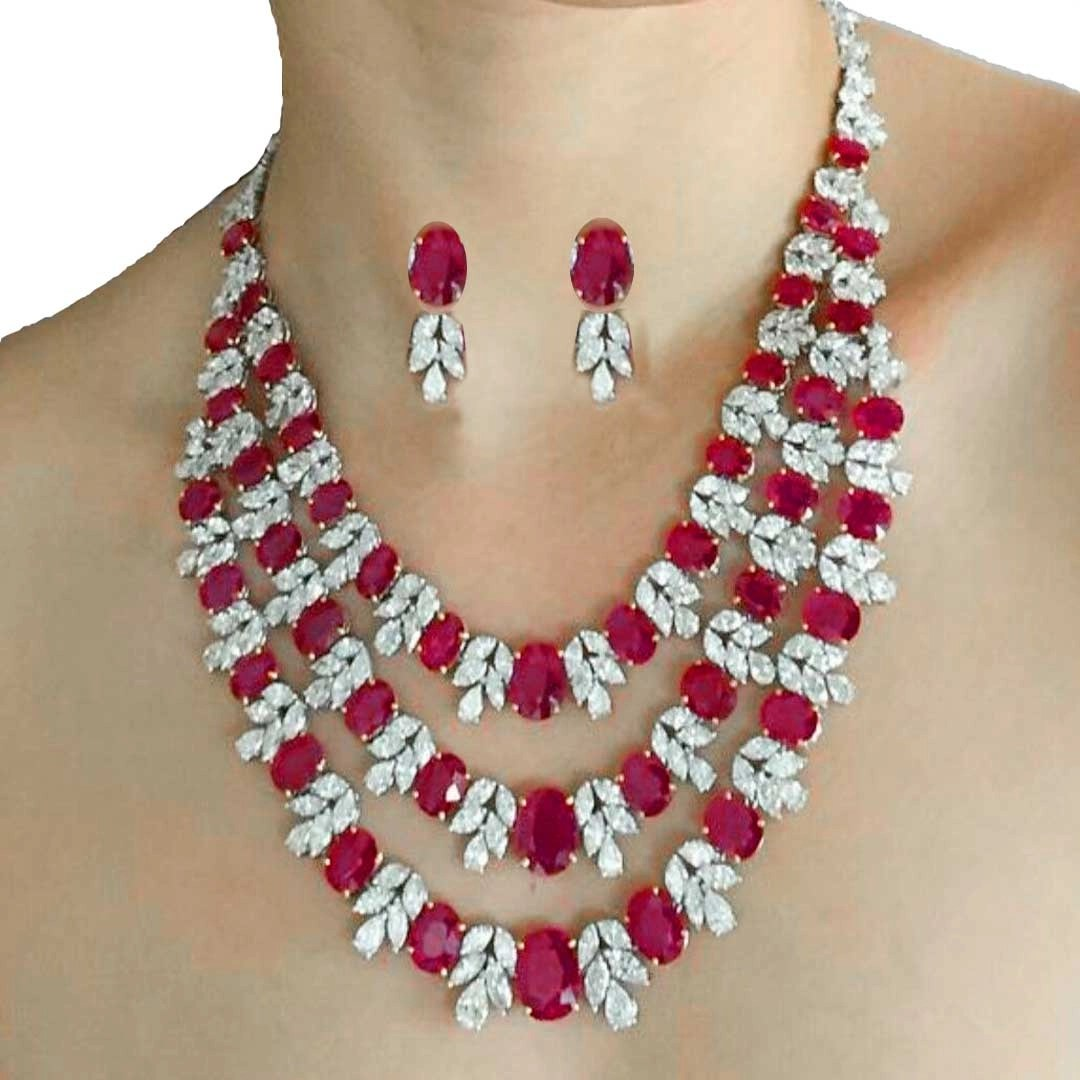Sterling Silver Heavy Bridal Ruby Necklace with Earrings