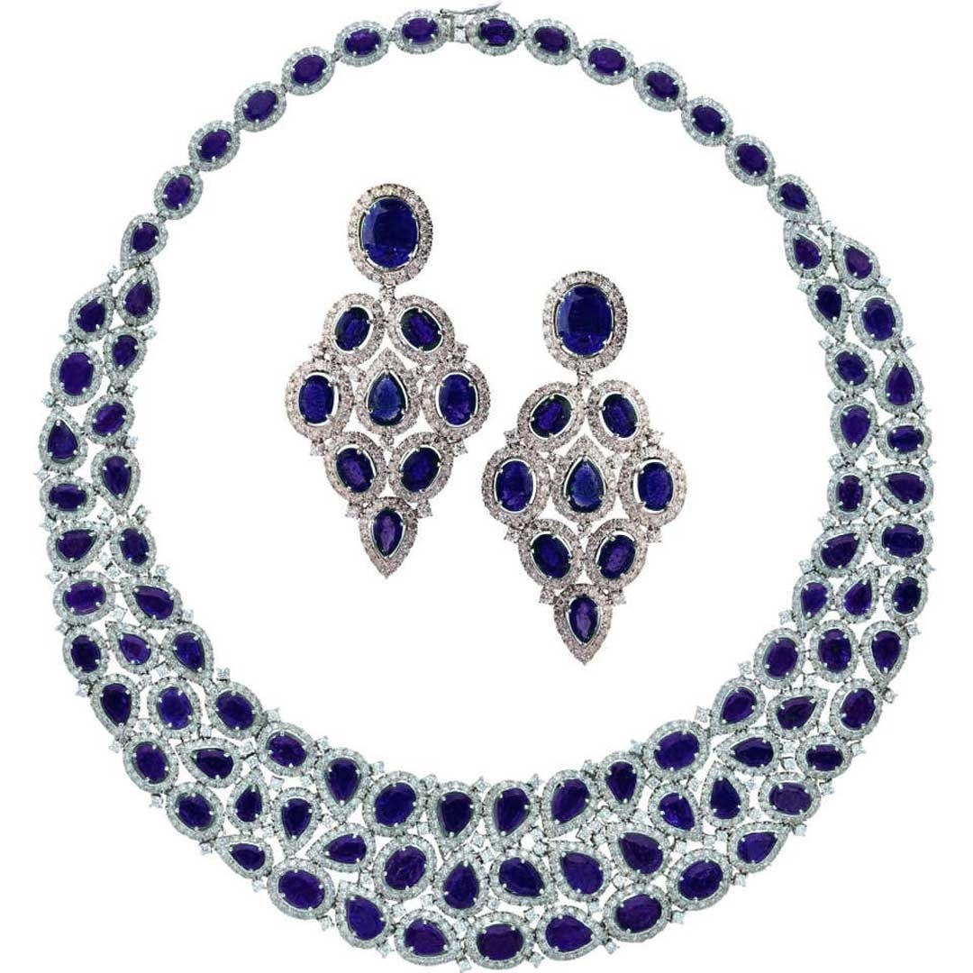 Sterling Silver Big Bridal Sapphire Necklace with Earrings