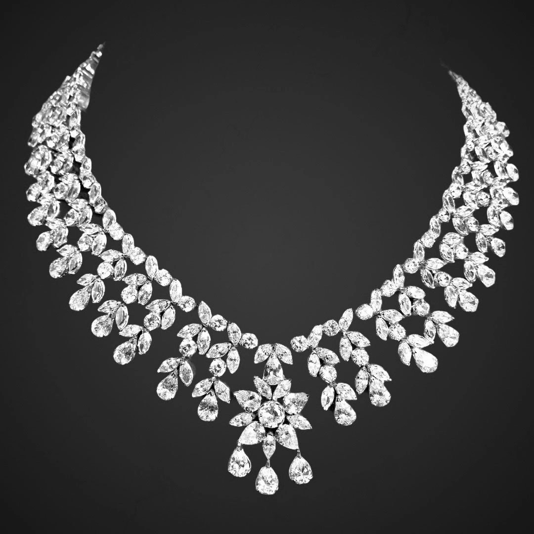 High Quality Sterling Silver Zircon Bridal Necklace