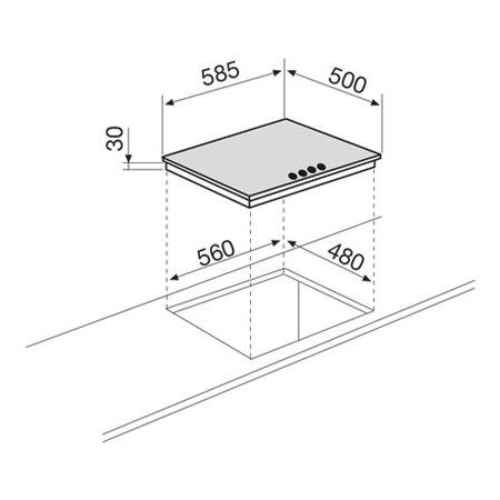 Disegno tecnico Piano cottura da 60 cm - GT645IX - Glem Gas