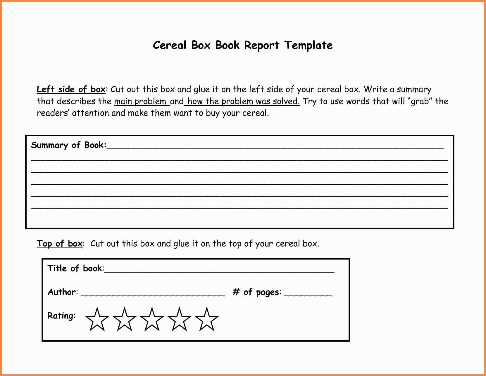 Cereal Box Book Report Samples