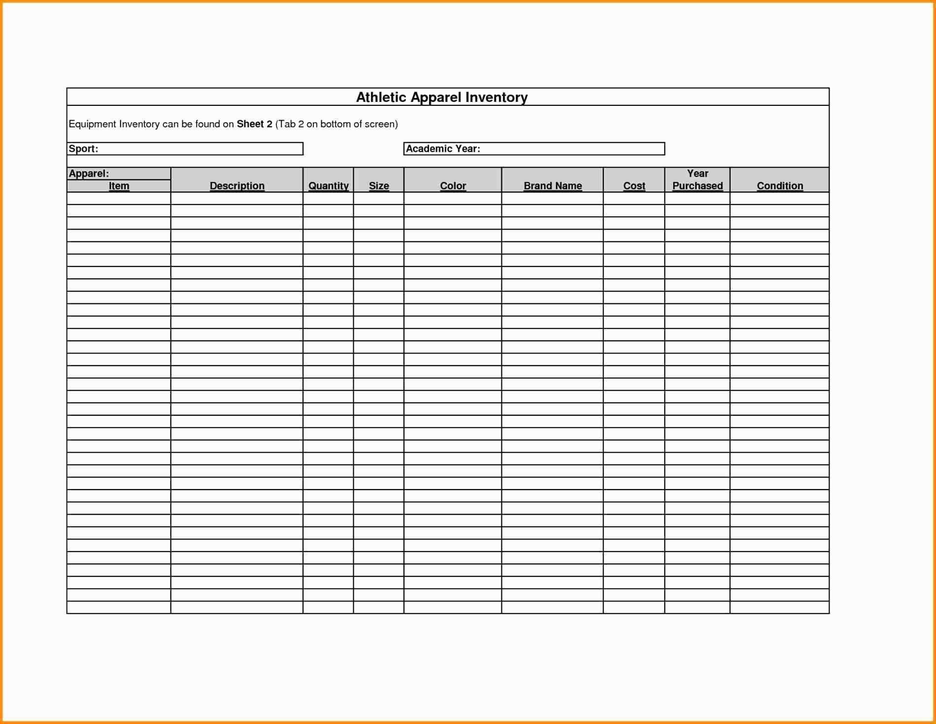 Warehouse Inventory Spreadsheet