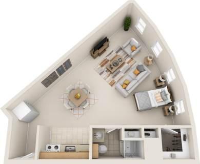 Studio / 1 Bath / 400 sq ft / Rent: $900