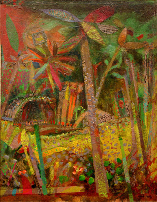 Jungle, 24.5 x 34.5 cm, Cling Film & Acrylic on Canvas