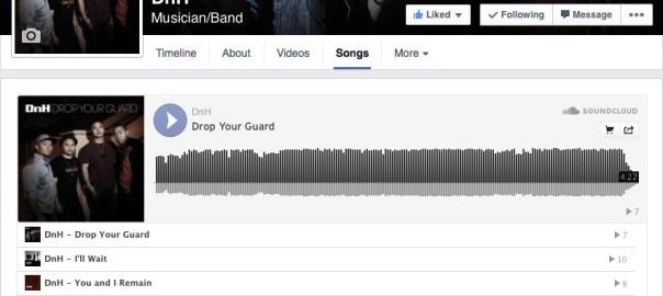 SoundCloud on a Facebook page