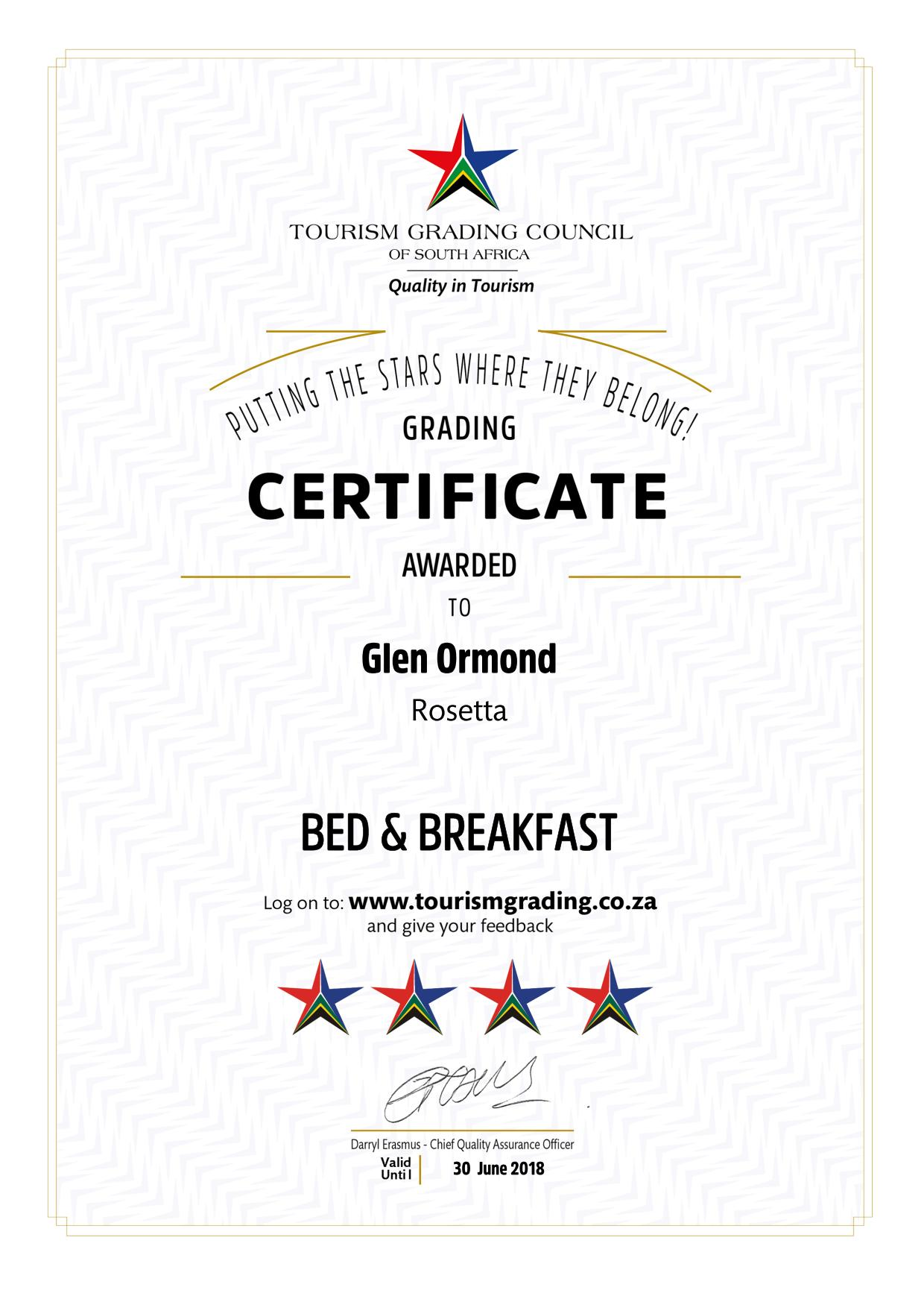 TGCSA 4 star certification