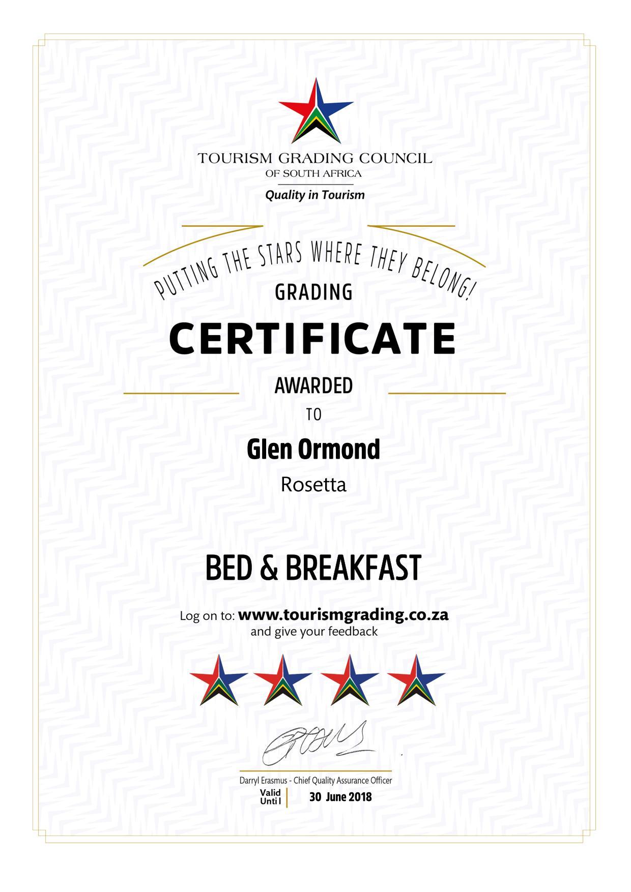 TGCSA 4 star certification