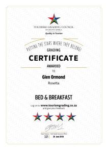 Tourism Grading Council 4 star certificate