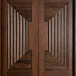 Modern Front Door Custom Double Solid Wood With Walnut Finish Modern Model Db 580b Dd Cst Modern
