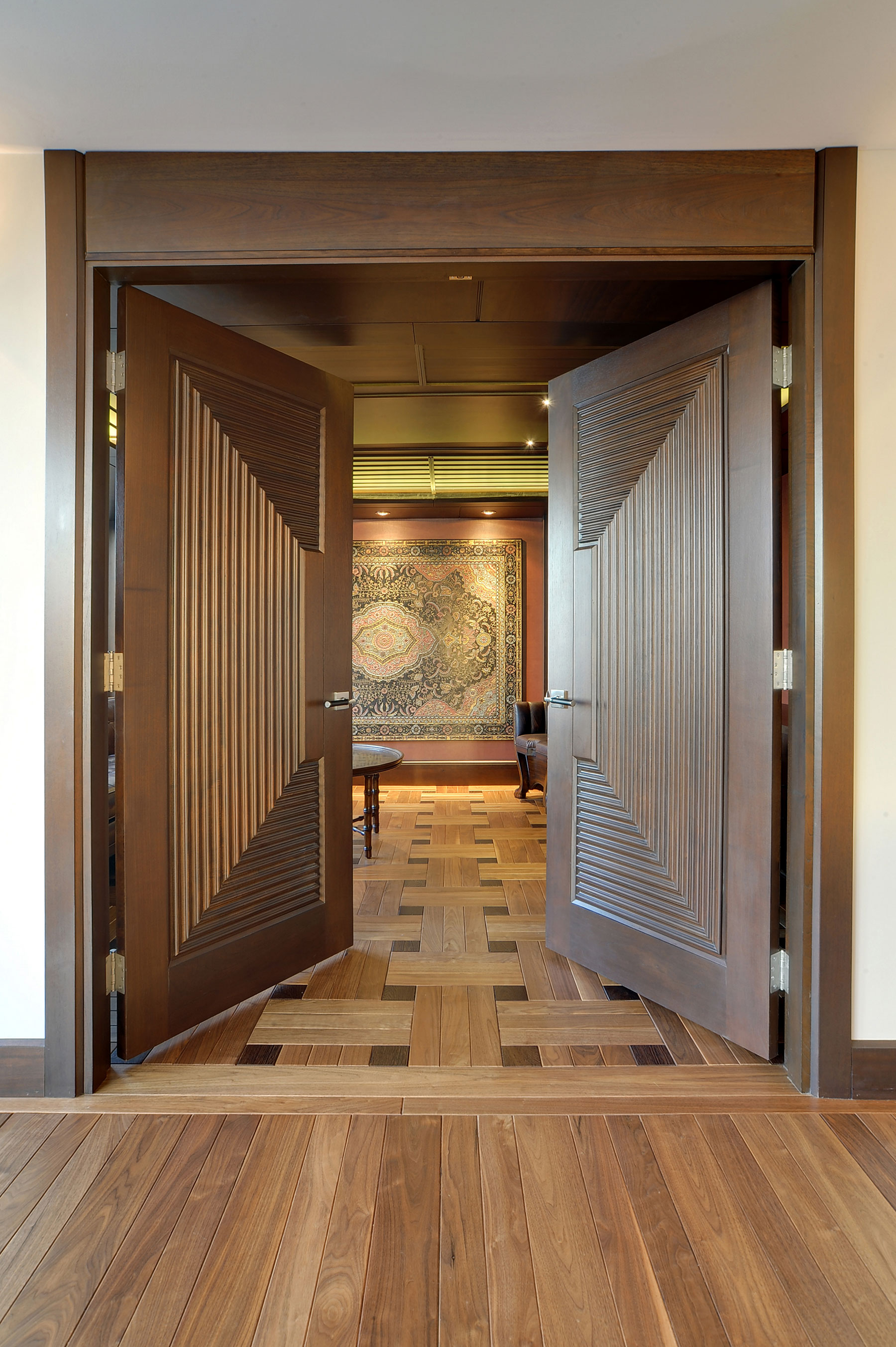 Interior Door Custom Double Solid Wood With Walnut