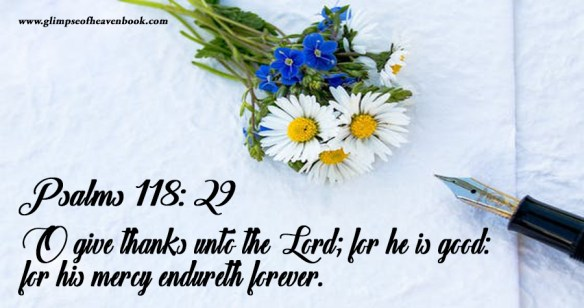 Psalms 118:29 O give thanks unto the Lord; for he is good: for his mercy endureth forever.
