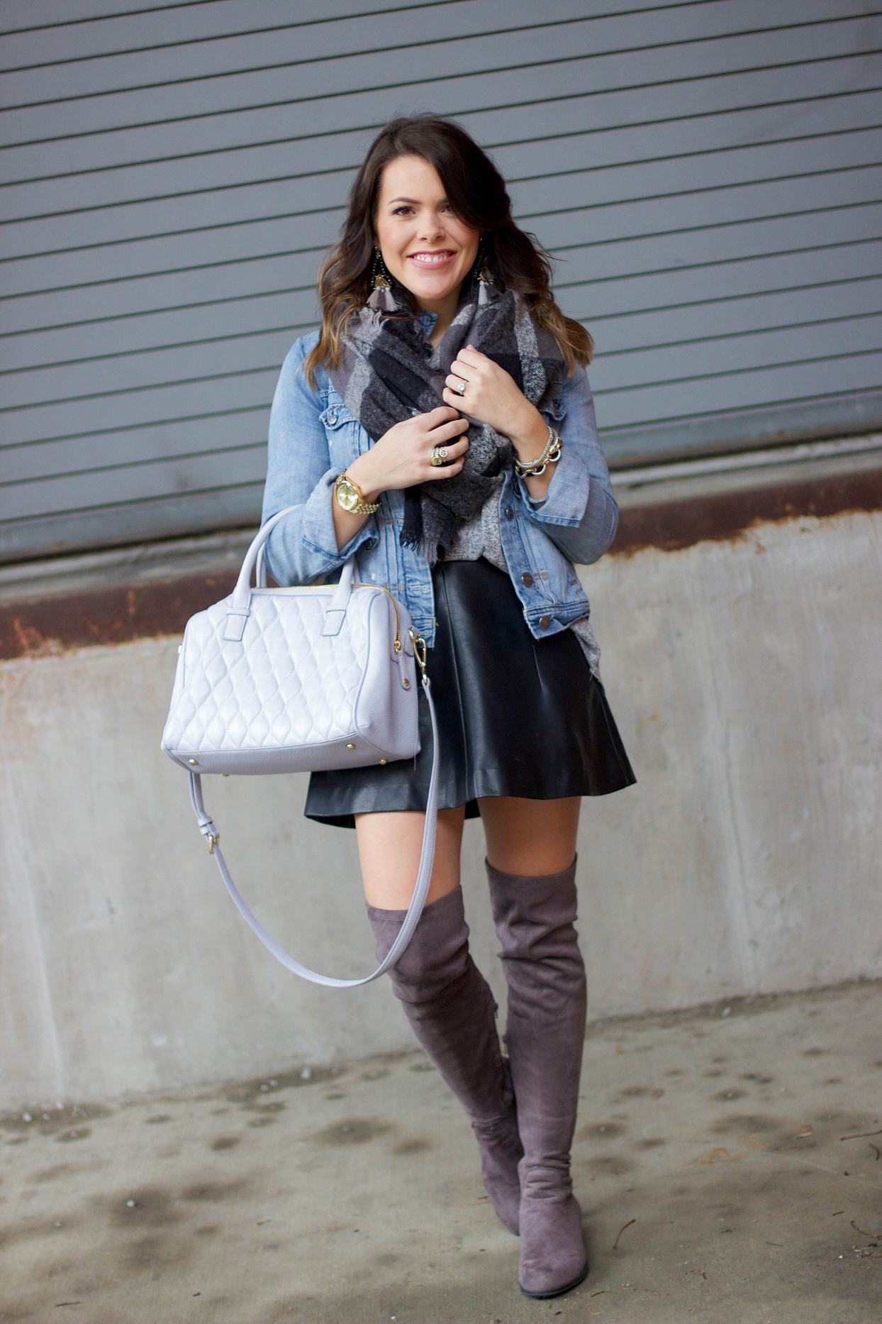 Denim Jacket, Leather Skirt, Over The Knee Boots, Bauble Bar Earrings