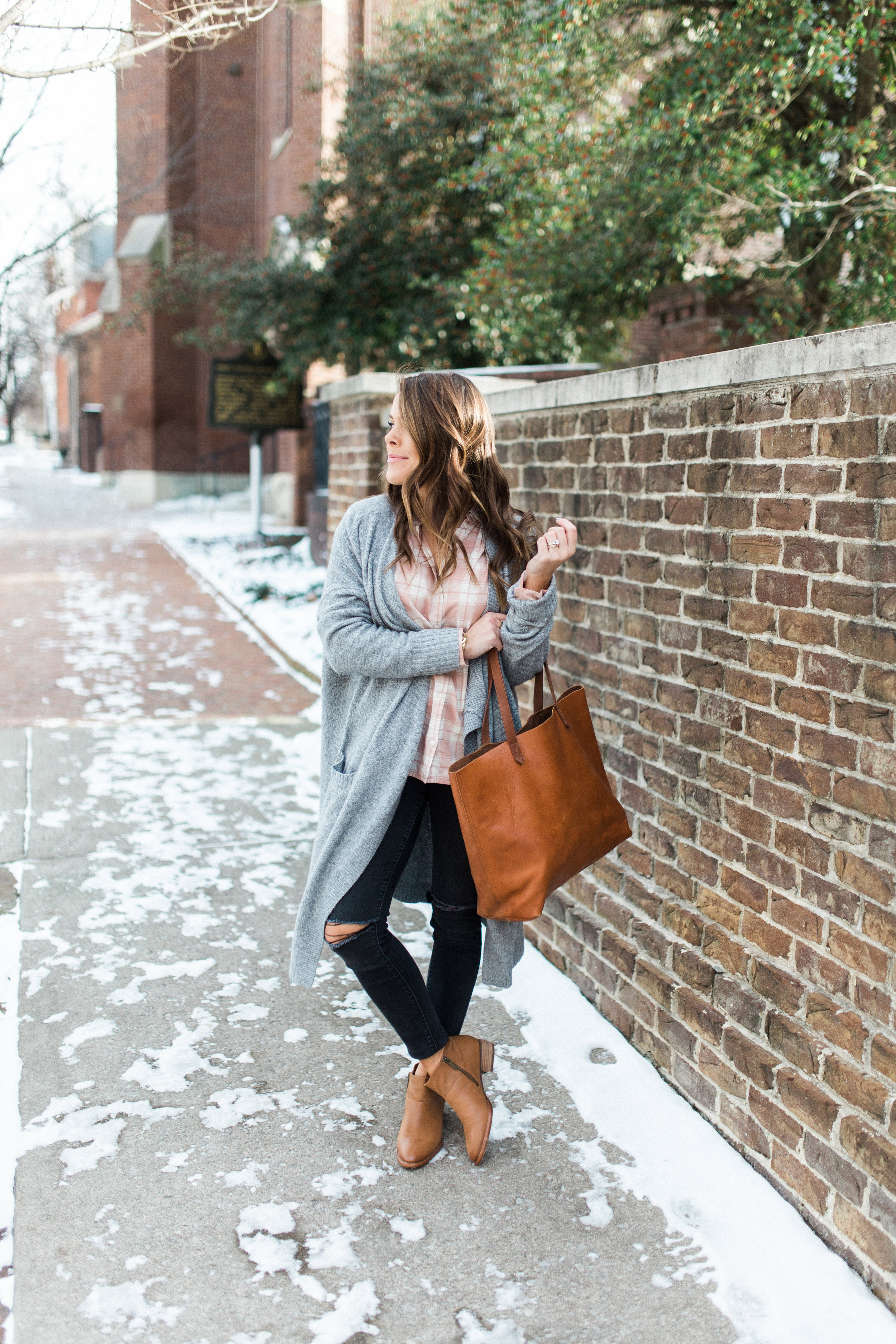 Winter Outfit Inspiration Ft. Madewell Pink Plaid Shirt, Long Cardigan, Madewell Transport Tote, Distressed Denim