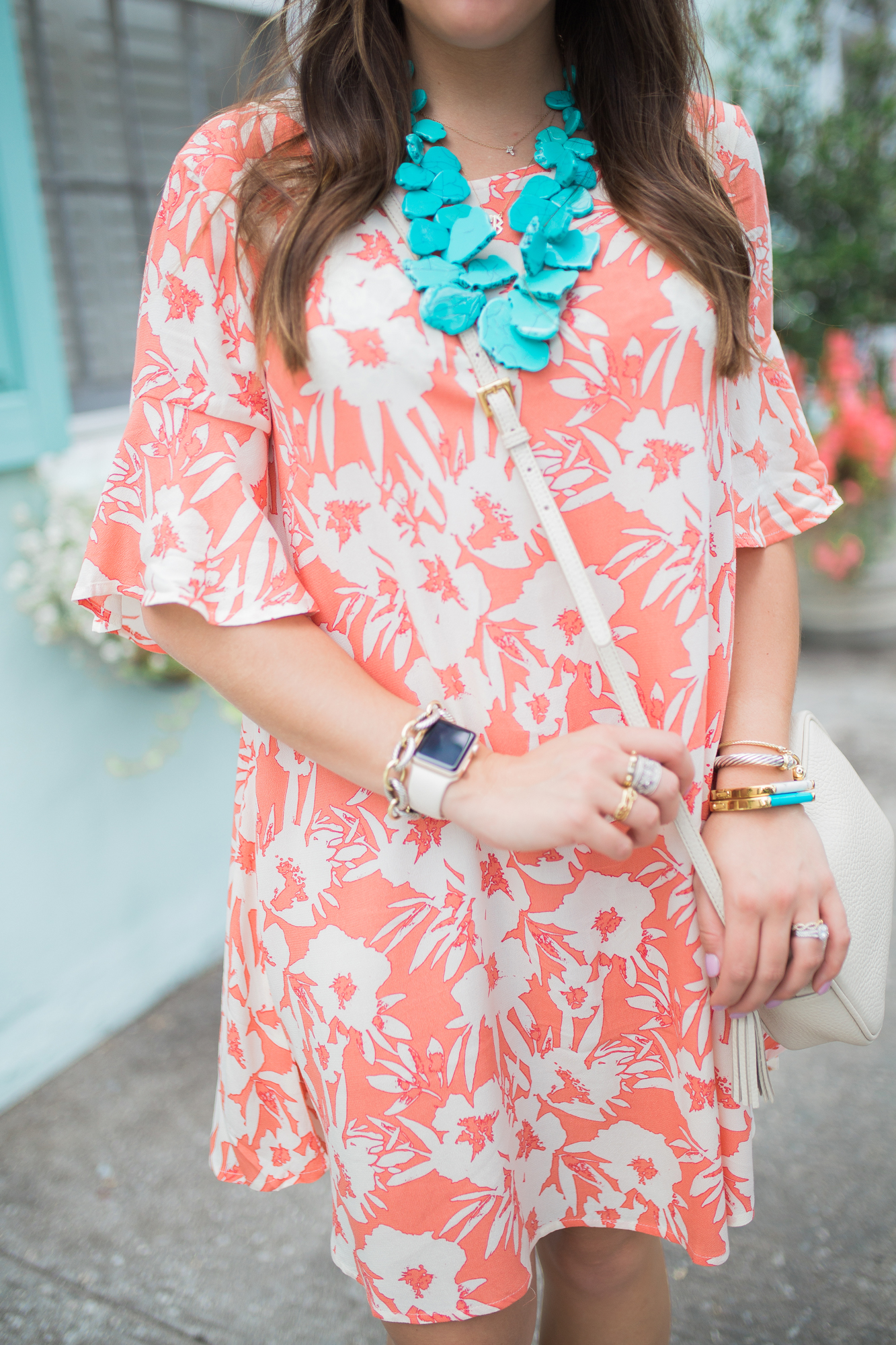 Orange Floral Dress / BaubleBar Turquoise Necklace