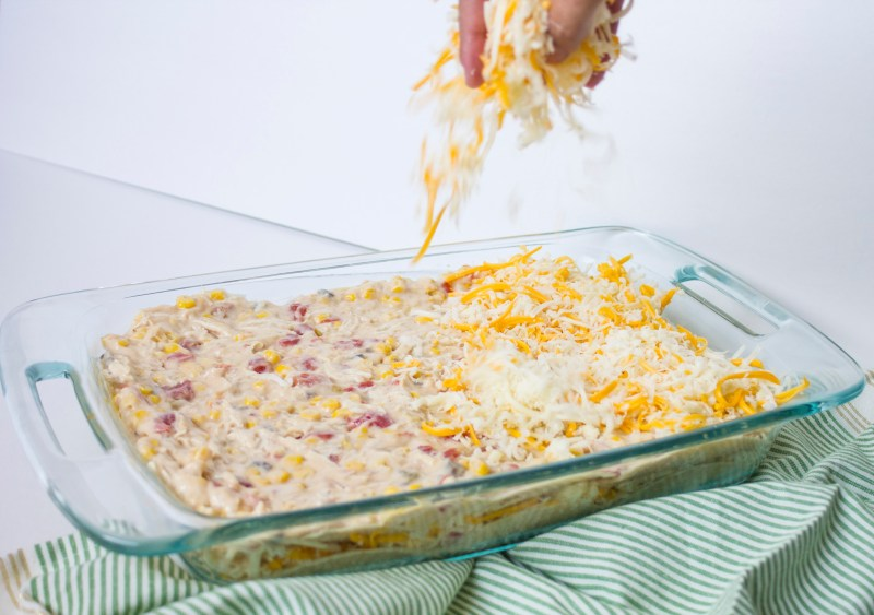 mexican chicken casserole cheese sprinkle