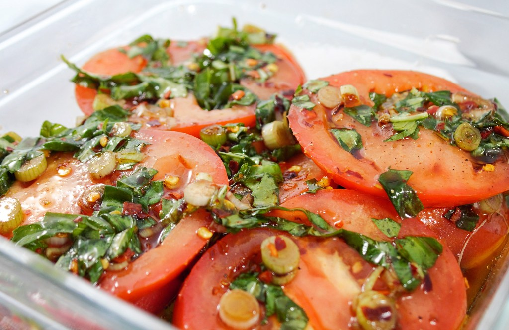 marinated tomato caprese salad