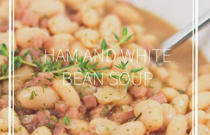 ham and bean soup with thyme in a bowl really up close with title