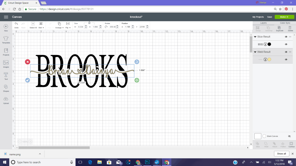knockout with cricut