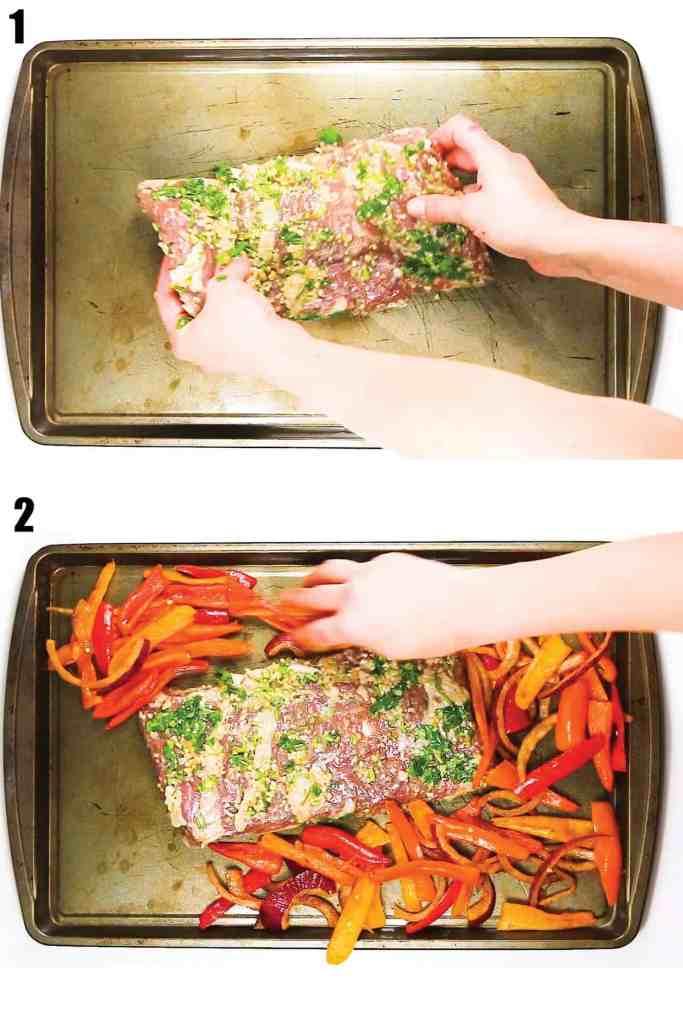 2 pictures of preparing the pan to cook cilantro lime sheet pan fajitas