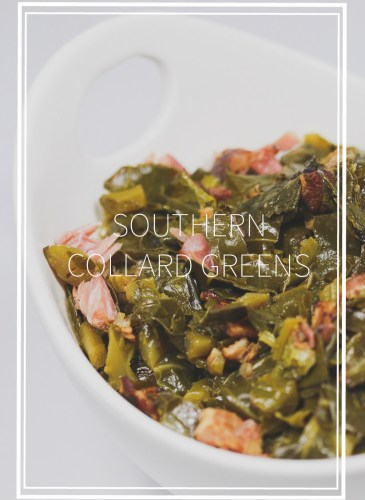 a white bowl of cooked collard greens with chunks of ham pieces