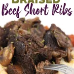 white plate of red wine braised beef short ribs over mashed potatoes with mushrooms, carrots, and sauce