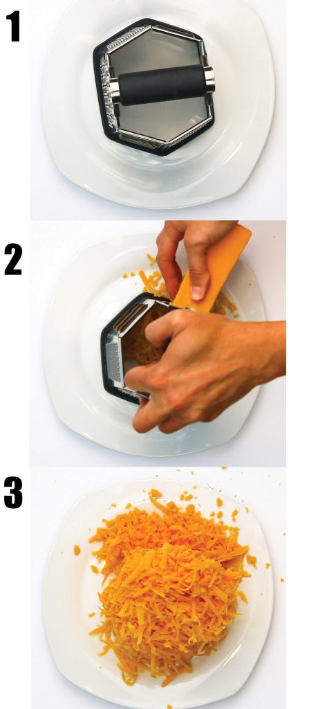 photo collage of a white plate and cheese grater, grating a block of sharp cheddar cheese for jalapeno cheddar sausage balls