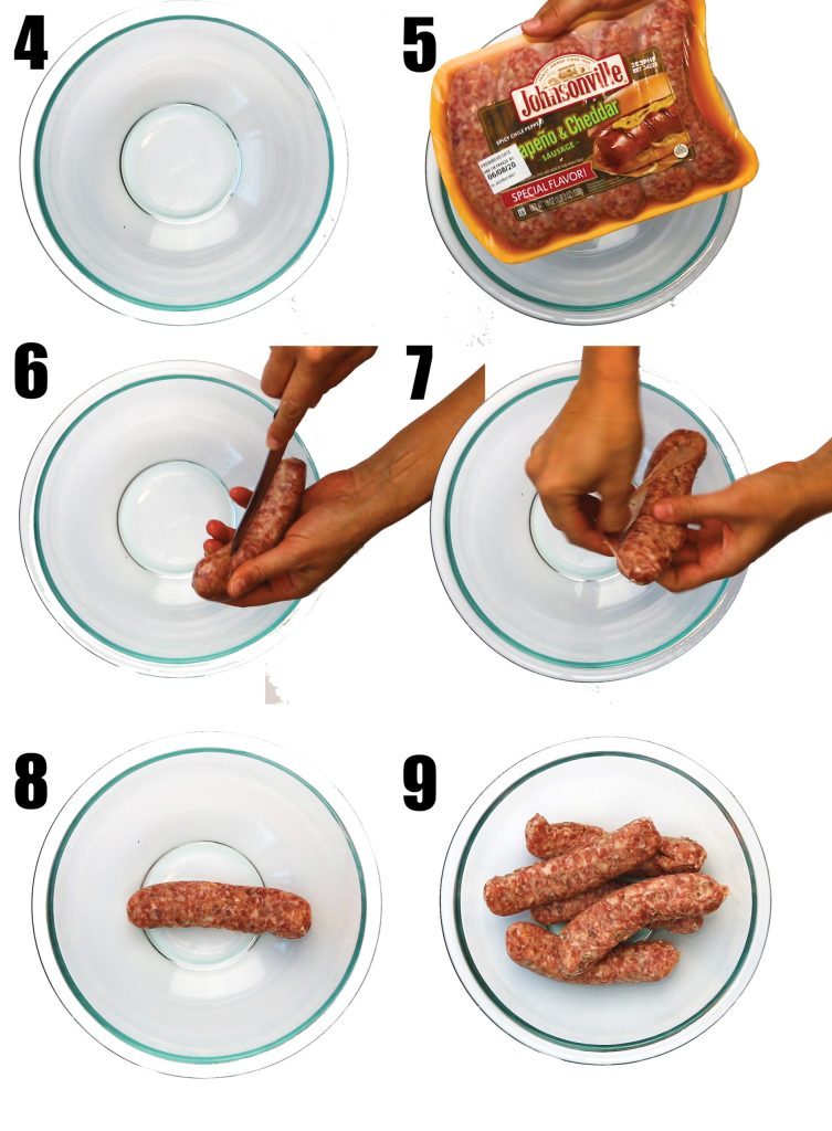 photo collage of uncasting sausage links and add them to a glass bowl for jalapeno cheddar sausage balls