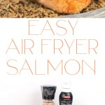 photo collage of a glass plate of easy air fryer salmon pieces on top of brown rice with lemon on top of the salmon