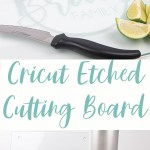 photo collage of a etched glass cutting board with limes and supplies