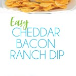 photo collage glass bowl of easy cheddar bacon ranch dip with cheese and bacon on top with chips around the bowl and ingredients