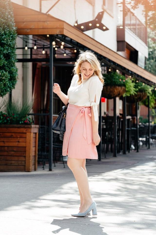 LOFT Fluid Wrap Skirt in Pale Pink