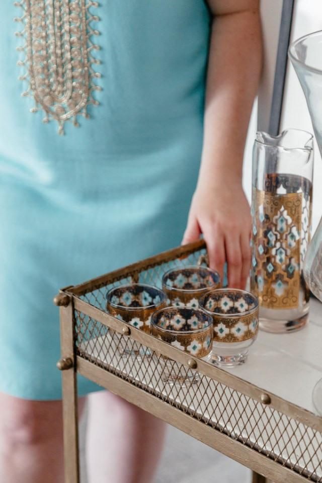 How to Style a Bar Cart, Where to Buy Vintage Glassware