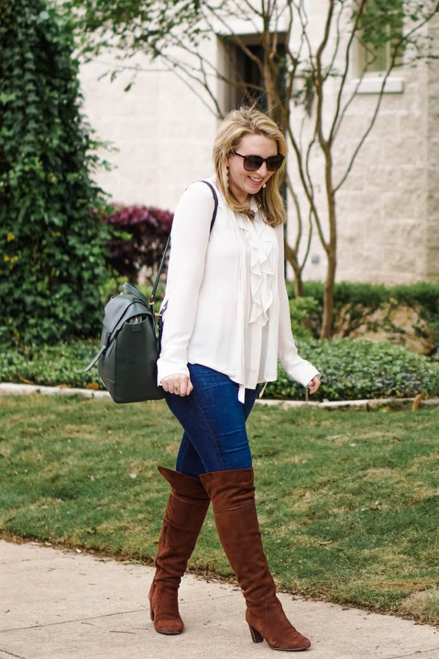Ruffled blouse for spring, Tie neck white shirt, how to wear a fancy blouse with jeans