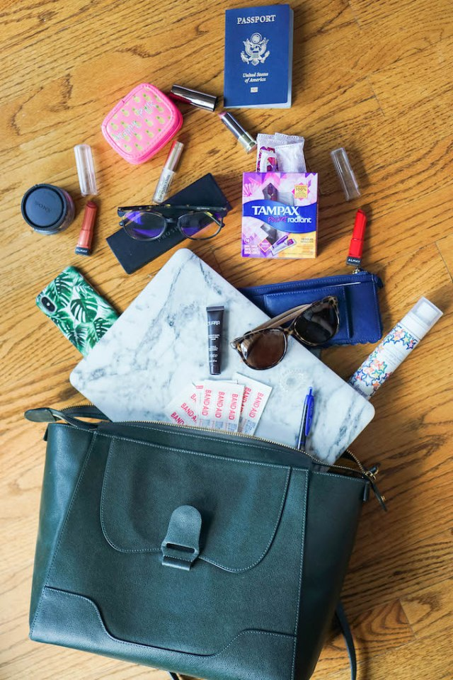 Summer Travels Bag Spill with Tampax, Tampax Pocket Radiant