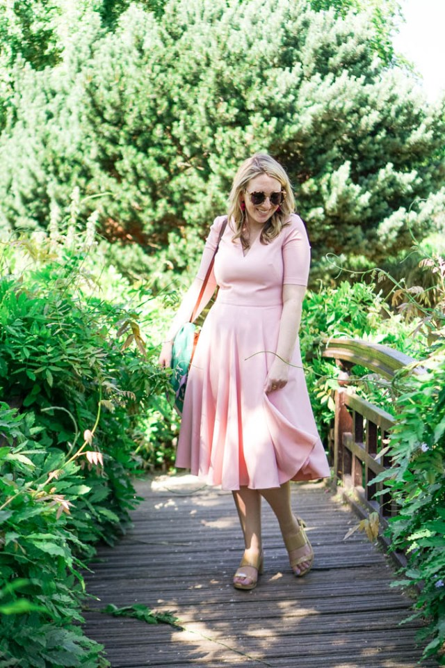 Gal Meets Glam Collection Dress in London   Pink Midi Dress by Fashion Blogger, Glitter & Spice