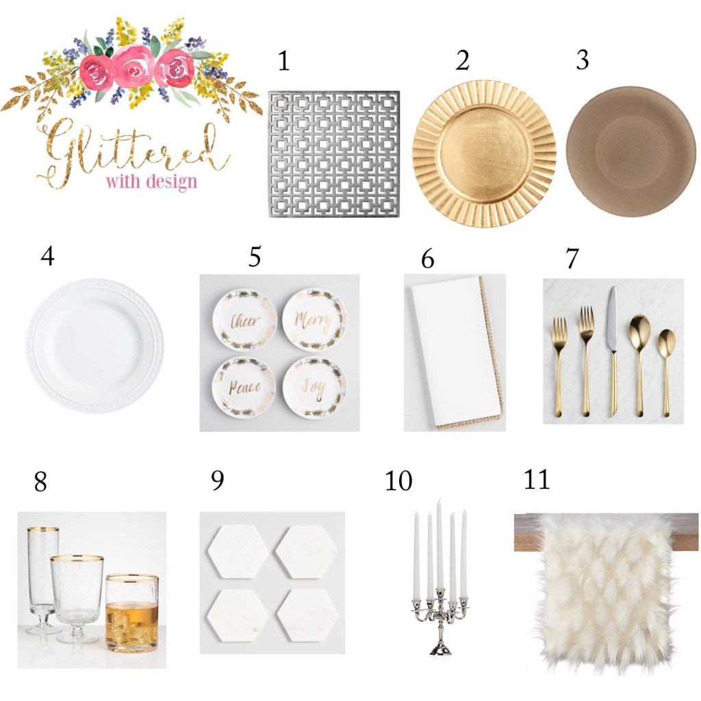 Holiday Tablescape: White and Metallic Gold and Silver