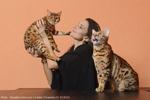 Lausanne, le 19 octobre 2012. Stefania Bonatti pose avec ses chat Bengal.