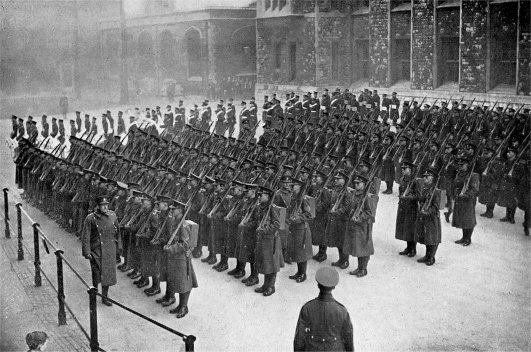1st Battalion Worcestershire Regiment on parade at the Tower of London