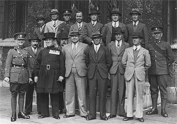 N.C.O.'s of The Depot Worcestershire Regiment visit the Tower of London on 3rd June 1938 Back row: Mr. Marks, L/Sgt. H. Letherbarrow (Depot), Sgt. H. Egan (1st. Bn. 'D' Coy), Mr. Dalloway, L/Sgt. F. Baker (Depot), Sgt. S. Lusby (Depot, Cook Sgt.), Sgt. A. Rendell (Depot) Front row: RSM W. Richards (1st Bn.) , Mr. Rea, Yeoman Murphy, Mr. Lester, RSM A. Humphries (Depot), Sgt. G. Mills (Depot), C/Sgt. C. Ham (Depot - Orderly Room Sgt.), Sgt. F. Hart (Depot), CSM J. Keating (1st. Bn.)