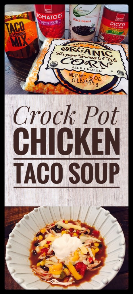 Crock Pot Chicken Taco Soup is so easy and perfect for a busy weeknight dinner!