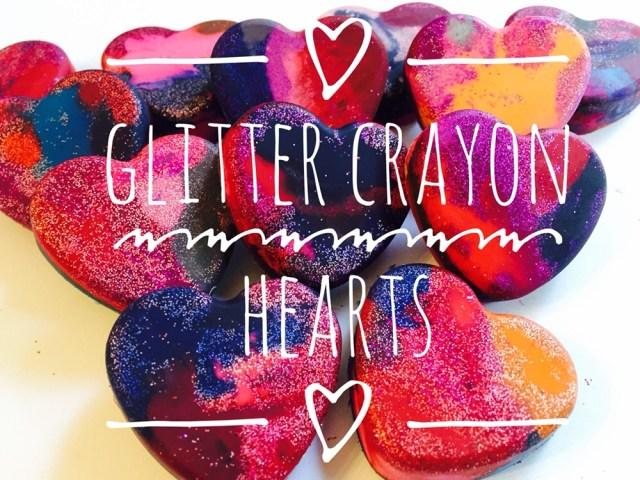 Crayon Glitter Hearts
