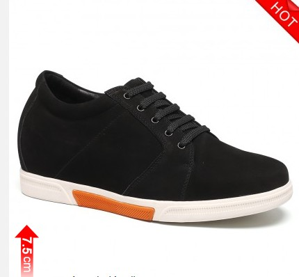 Casual Elevator Shoes Height Increasing Shoes For Men Black 7.5 CM / 2.95 Inches