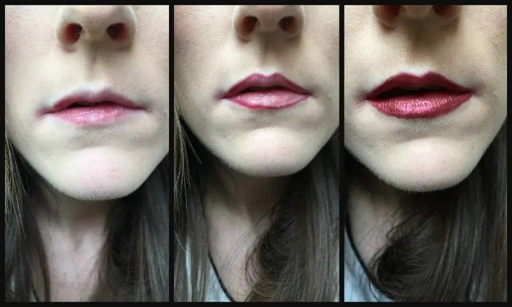 Get perfect lips for Christmas with Maybelline Metallic foil lip kit in Scorpion before and after