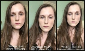 klairs mochi bb cushion pact cream before and after