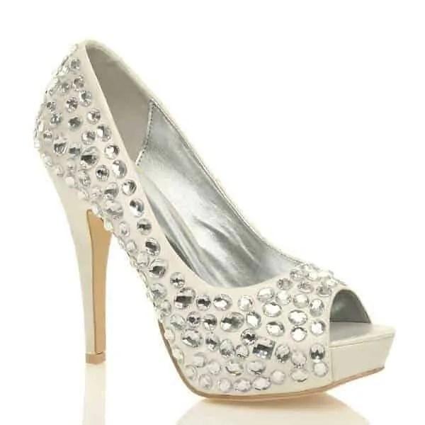 uppersole high heel diamante gem peep toe shoes