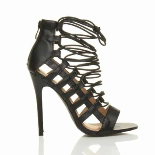 ole high heel strappy lace up ghillie sandals