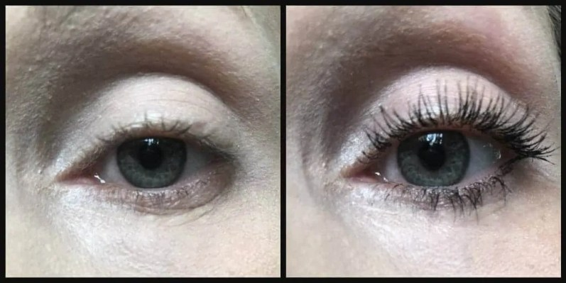essence super curl volume mascara before and after
