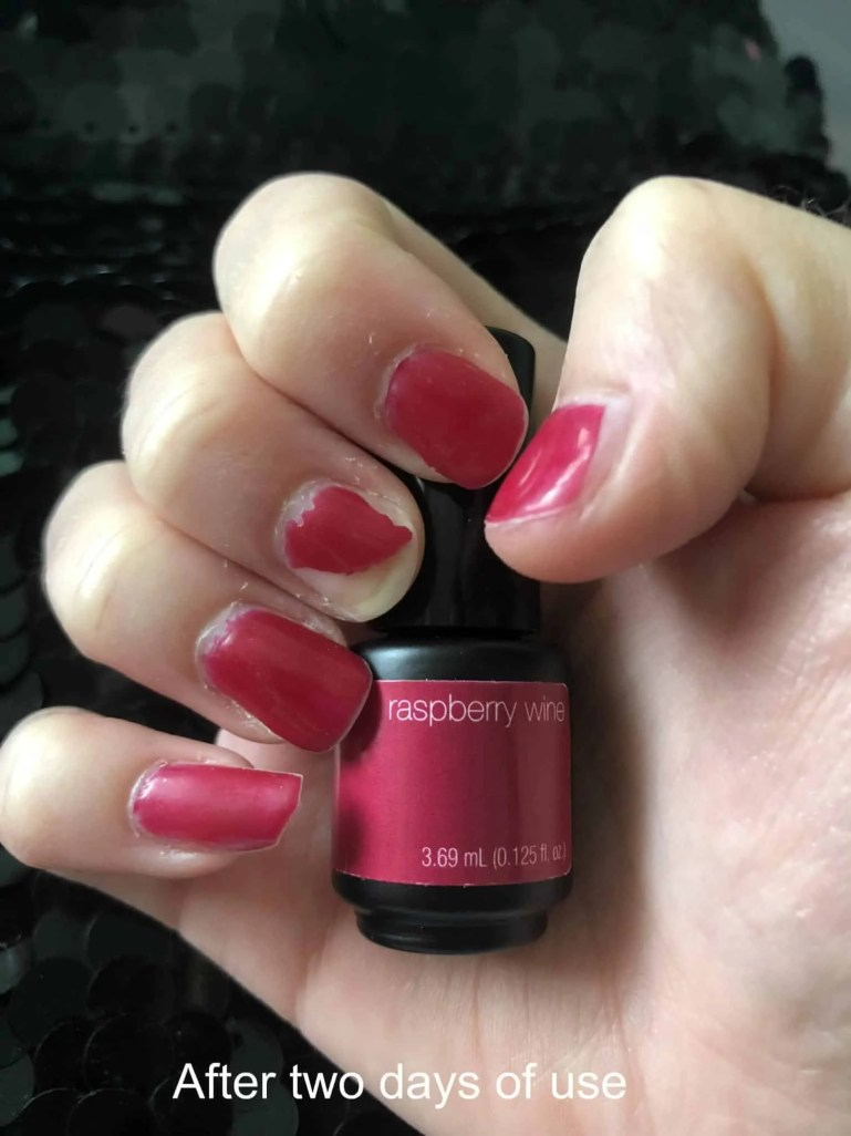 sensationail peel off strip gel nail polish after 2 days of use